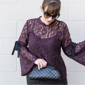Loft lace  bell sleeve top